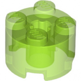 LEGO 6296849 BRIQUE RONDE Ø16 W. CROSS - VERT FLUO TRANSPARENT