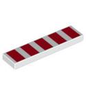 LEGO 6253115 PLAQUE IMPRIME 1X4 - BLANC RAYE ROUGE