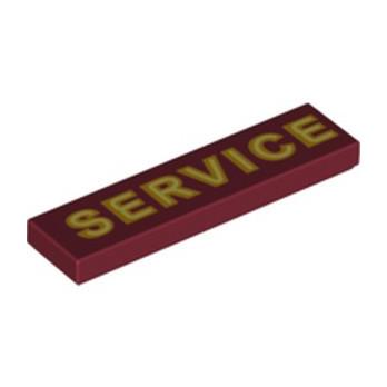 """LEGO  6288639 PANNEAU """"SERVICE"""" 1X4 - NEW DARK RED"""