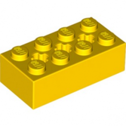LEGO 6244914 BRIQUE 2X4 W/ CROSS HOLE - JAUNE