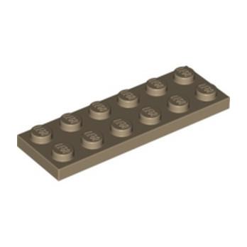 LEGO 4550329  PLATE 2X6 - SAND YELLOW lego-4550329-plate-2x6-sand-yellow ici :