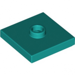LEGO 6290269 PLATE 2X2 W 1 KNOB - BRIGHT BLUEGREEN