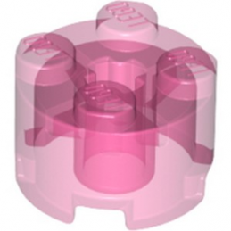 LEGO 6296852 BRIQUE RONDE Ø16 W. CROSS - ROSE TRANSPARENT
