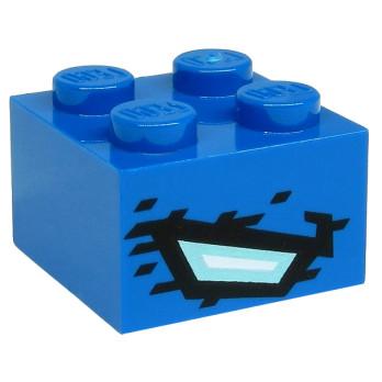 LEGO 6290508 BRIQUE 2X2 IMPRIME NINJAGO - BLEU