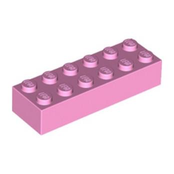 LEGO 6228963 BRIQUE 2X6 - ROSE CLAIR