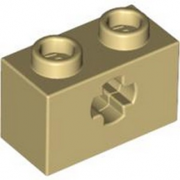 LEGO 6219794 BRIQUE 1X2 WITH CROSS HOLE - BEIGE