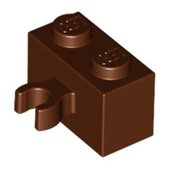 LEGO 6127734 BRIQUE 1X2 W. HORIZONTAL HOLDER - REDDISH BROWN