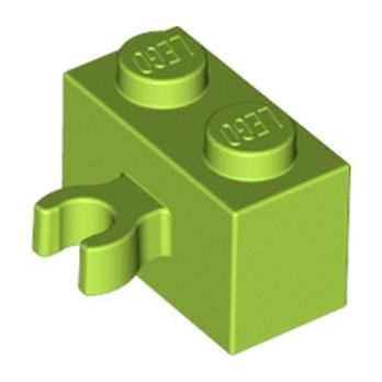 LEGO 6146891 BRIQUE 1X2 W. HORIZONTAL HOLDER - Bright yellowish green