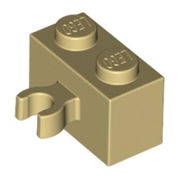 LEGO 6127742 BRIQUE 1X2 W. HORIZONTAL HOLDER - BEIGE