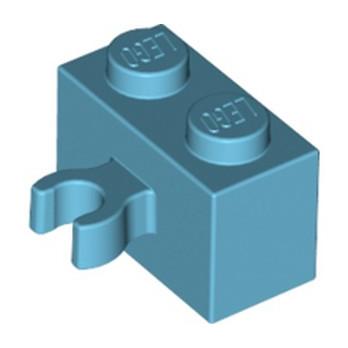LEGO 6127745 BRIQUE 1X2 W. HORIZONTAL HOLDER - MEDIUM AZUR