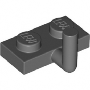 LEGO 4611703 PLATE 1X2 W. VERTICAL SCHAFT - DARK STONE GREY