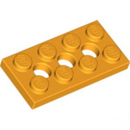 LEGO 6132408 PLATE 2X4, 3XØ4.9 - FLAME YELLOWISH ORANGE