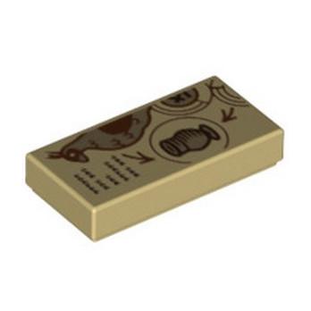 LEGO 6333190 FLAT TILE 1X2 PRINTED - TAN