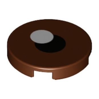 LEGO 6303541 FLAT TILE 2X2X 1/3 ROUND EYE PRINTED - REDDISH BROWN