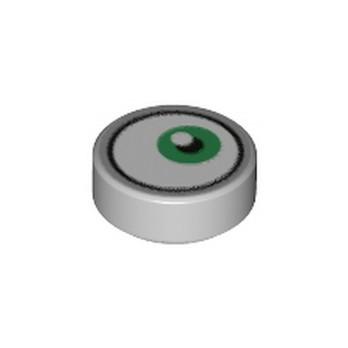 LEGO 6310404 FLAT TILE 1X1X 1/3 ROUND EYE PRINTED - MEDIUM STONE GREY