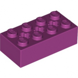 LEGO 6252647 BRIQUE 2X4 W/ CROSS HOLE - MAGENTA