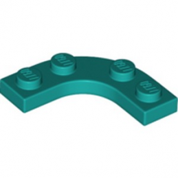 LEGO 6323161 PLATE 3X3, 1/4 CIRCLE W/ CUT OUT - BRIGHT BLUEGREEN