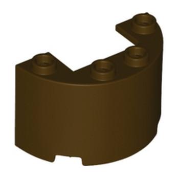 LEGO 6331216 WALL 1/2 CIRCLE, 2X4X2 W/ CUTOUT - DARK BROWN