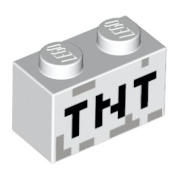 LEGO 6097028 BRICK 1X2 PRINTED MINECRAFT - WHITE
