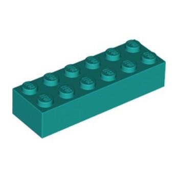 LEGO 6249420 BRICK 2X6 - BRIGHT BLUEGREEN