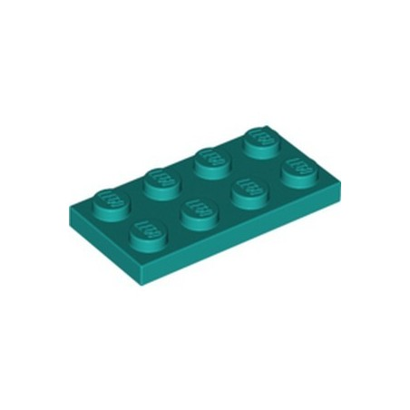 LEGO 6338181 PLATE 2X4 - BRIGHT BLUEGREEN