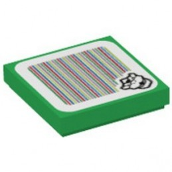 LEGO 6317986 PLATE 2X2, PRINTED SUPER MARIO - DARK GREEN