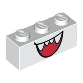 LEGO 6309107 BRICK 1X3 PRINTED MOUTH - WHITE