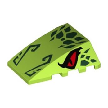 LEGO 6303615 BRICK 4X4 W. BOW/ANGLE PRINTED - BRIGHT YELLOWISH GREEN