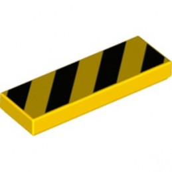 LEGO 6304885 FLAT TILE 1X3 PRINTED - YELLOW/BLACK