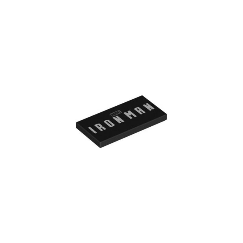 LEGO 6316469 FLAT TILE 2X4 PRINTED IRON MAN - BLACK