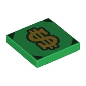 LEGO 6336807 FLAT TILE 2X2 PRINTED DOLLAR - DARK GREEN