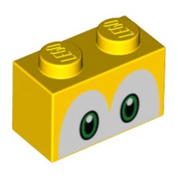 LEGO 6309009 BRICK 1X2, IMPRIME - YELLOW