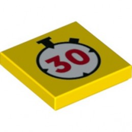 LEGO 6342130 FLAT TILE 2X2, SECOND TIMER PRINTED - YELLOW