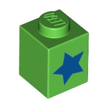 LEGO 6334693 BRICK 1X1, PRINTED STAR - BRIGHT GREEN