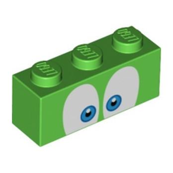 LEGO 6334670 BRICK 1X3, PRINTED - BRIGHT GREEN