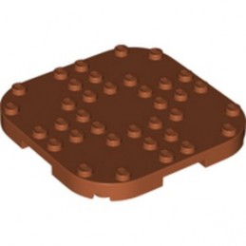 LEGO 6301642 PLATE, 8X8X2/3 CIRCLE W/ REDUCED KNOBS - DARK ORANGE