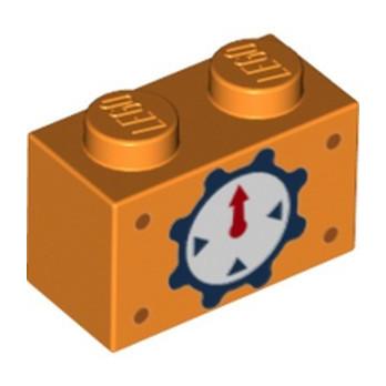 LEGO 6342123 BRICK 1X2, PRINTED - ORANGE