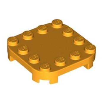LEGO 6308882 PLATE 4X4X2/3 CIRCLE W/ REDUCED KNOBS - FLAME YELLOWISH ORANGE