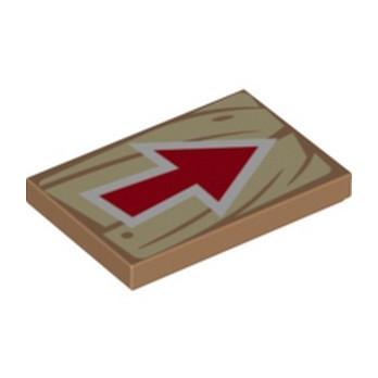 LEGO 6309031 FLAT TILE 2X3, PRINTED ARROW - MEDIUM NOUGAT