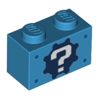 LEGO 6334671 BRICK 1X2, PRINTED - DARK AZUR