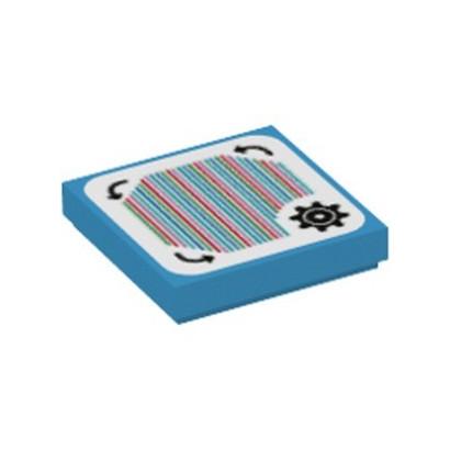 LEGO 6338143 FLAT TILE 2X2, PRINTED - DARK AZUR