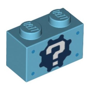 LEGO 6334672 BRICK 1X2, PRINTED - MEDIUM AZUR