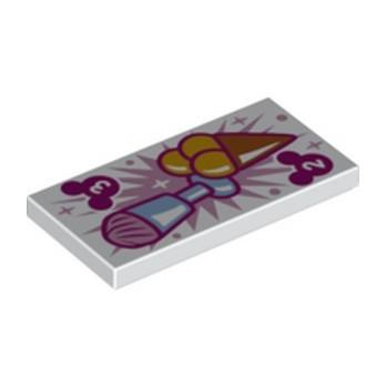 LEGO 6346807 FLAT TILE 2X4, PRINTED - WHITE