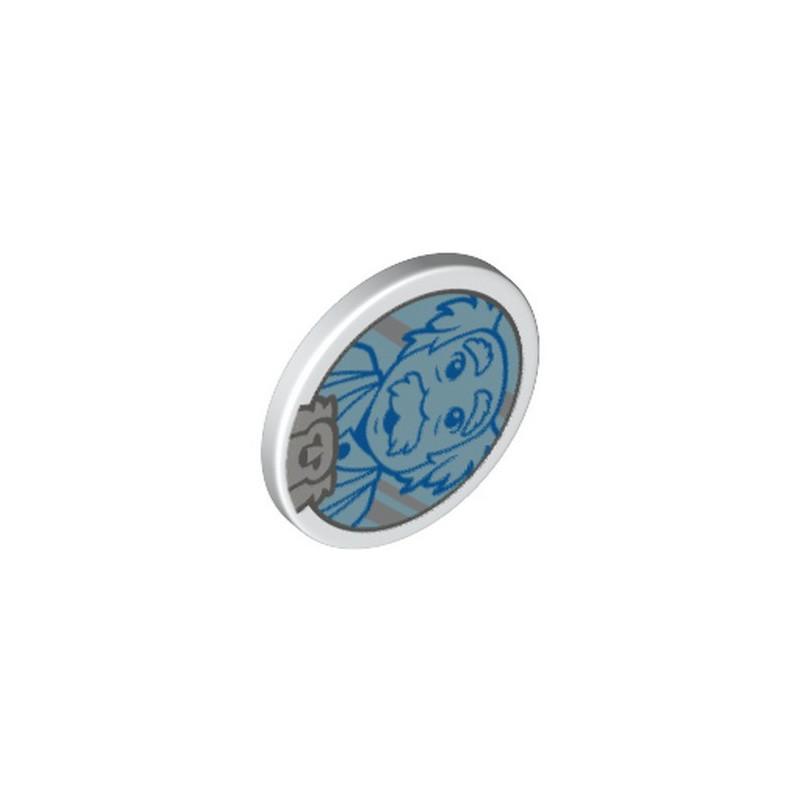 LEGO 6351368 FLAT TILE ROUND W/ SNAP PRINTED - WHITE