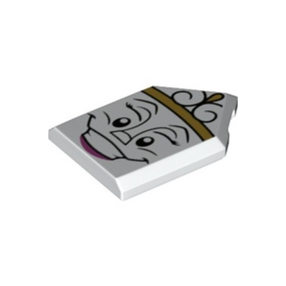 LEGO 6300114 FLAT TILE 2X3 W/ ANGLE PRINTED - WHITE