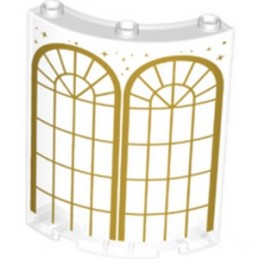 LEGO 6347948 WALL ELEMENT ROUND 4X4X6, PRINTED - TRANSPARENT