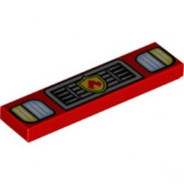 LEGO 6342616 FLAT TILE 1X4 PRINTED GRILLE FIREFIGHTER - RED