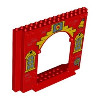 LEGO 6342618 WALL 4X16X10 W. GATE PRINTED - RED