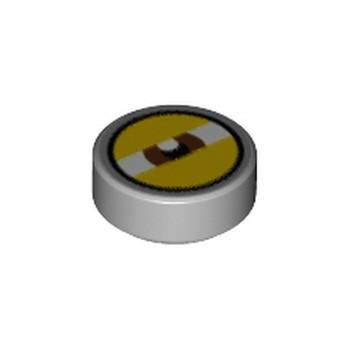 LEGO 6310556 FLAT TILE 1X1X 1/3 ROUND EYE PRINTED - MEDIUM STONE GREY