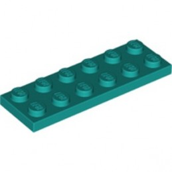 LEGO 6259794 PLATE 2X6 - BRIGHT BLUEGREEN